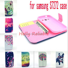 For Samsung Galaxy ACE3 ACE 3 III S7270 7270 S7272 7272 S7275 S7278 Flowers Printing Flip pu Leather Back Phone Cover Case(China (Mainland))