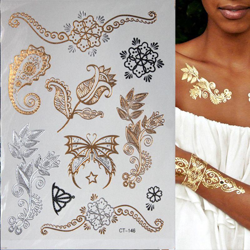 Henna Tattoo Gold : Aliexpress buy hot flash metallic waterproof