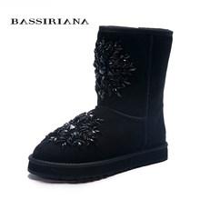 BASSIRIANA-frauen mode blau schaffell schnee stiefel mit kristall dekoration Schuhe frau Kostenloser versand(China)