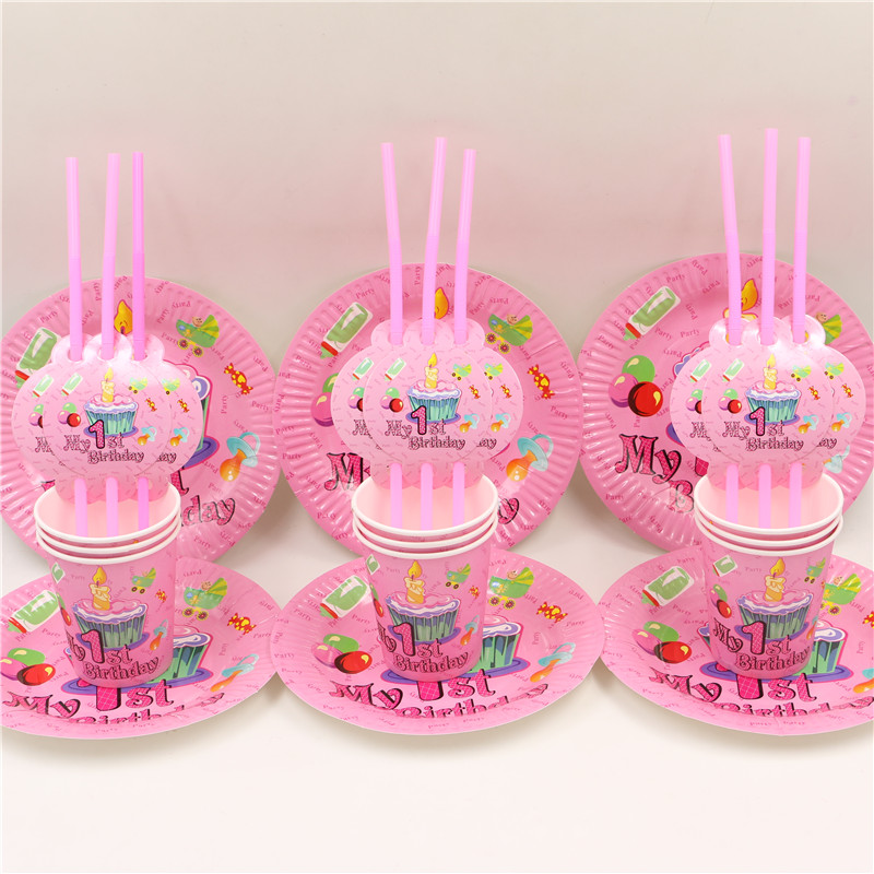8 people 1st birthday girls party simple set decoration paper plate cups straw baby 1 year old party's disposable supplies 24pcs(China (Mainland))