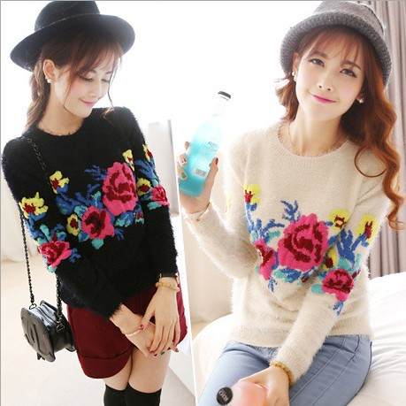 Womens Sweater sweaters 2016 women fashion mohair rose flower pullovers crochet knitted turtleneck W00479 - Fall In Love store