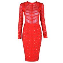 Seamyla 2019 חדש אביב סלבריטאים המפלגה שמלת נשים באורך הברך Bodycon שמלות סקסי רשת ארוך שרוול חרוזים תחבושת שמלות(China)