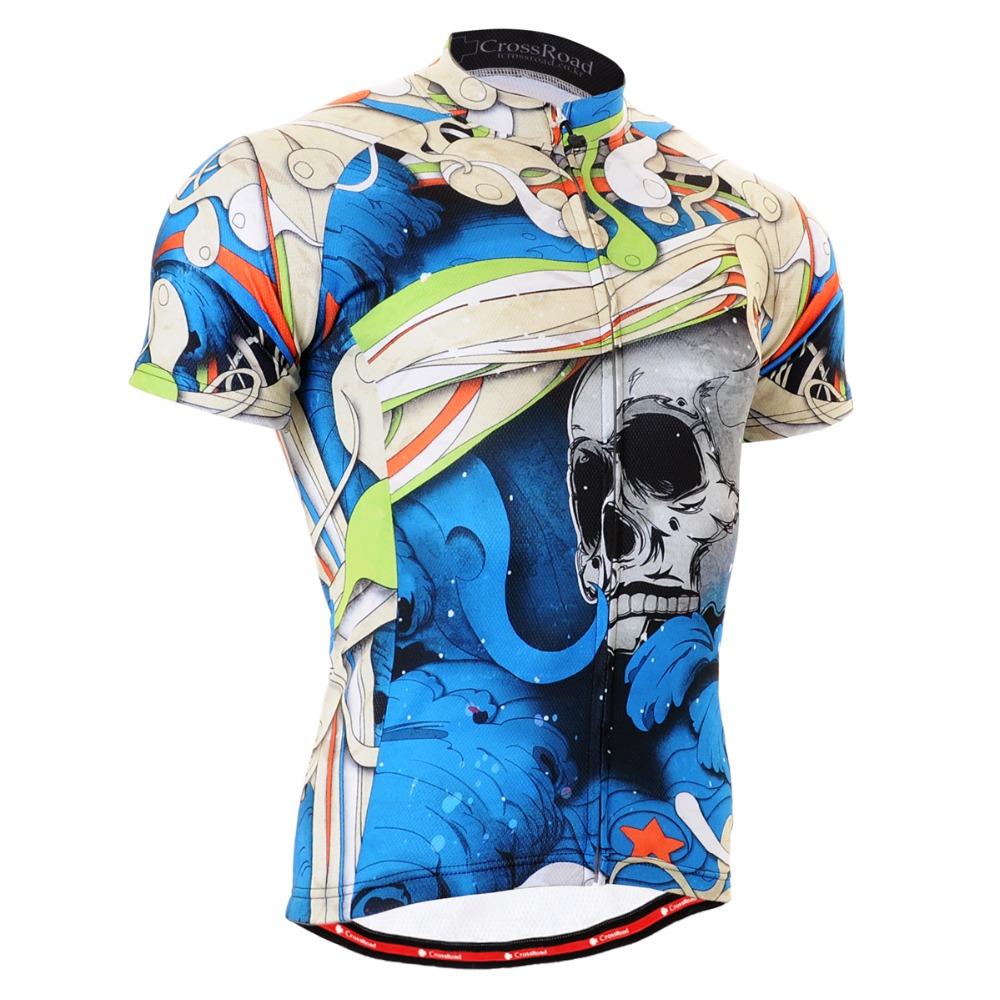 Authentic Men Cycling Jersey Skeleton Blue Bike Riding Clothing Short Sleeve Full Zipper Advanced Performance CS-19B2(China (Mainland))