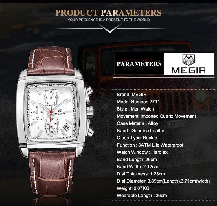 MEGIR2711 Luxury Brand Дата Кожаные Мужские Часы многофункциональный Хронограф Площадь Бизнес Кварцевые Wirstwatch 3Eye 3ATM Черный Часы
