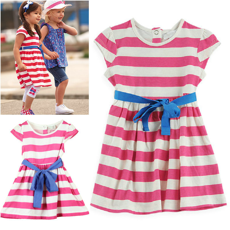 100% cotton 2013 summer little girl dress sleeveless Striped dresses children clothing cheap girl dresses(China (Mainland))