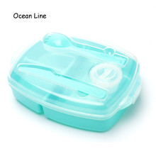 2016 New Portable 3 Compartments Bento Lunch Box Dinnerware Set With Spork Knife Dressing Food Fruit Storage Container Lunchbox(China (Mainland))