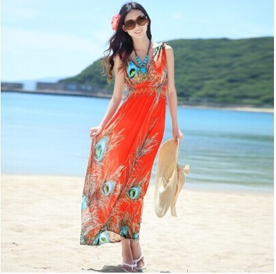 2016 Top Fashion Hot Sale None Empire Tank Print Long Dress Plus Size Europe And The Women's Dress Bohemia Code Free Delivery(China (Mainland))