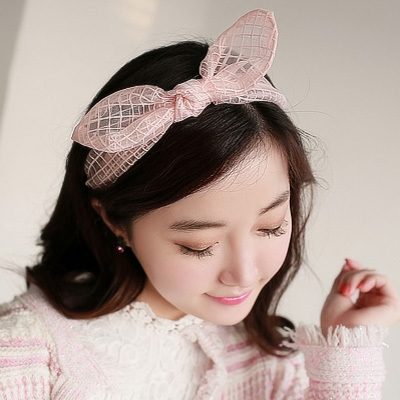 Wholesale 12pcs Mixed Colors Ladies Sweet Plaid Organza Bow Headband Elegant Ears Hairband  Fashion Women's Hair Ornaments