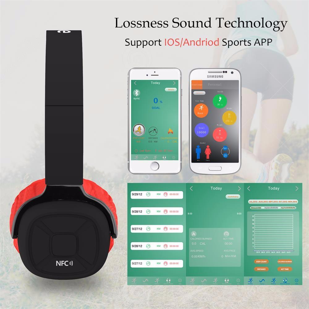 ถูก ใหม่ผึ้งหูฟังบลูทูธไร้สายhifiกีฬาชุดหูฟังบลูทูธกับpedometer app mic nfcสำหรับe couteur iphone