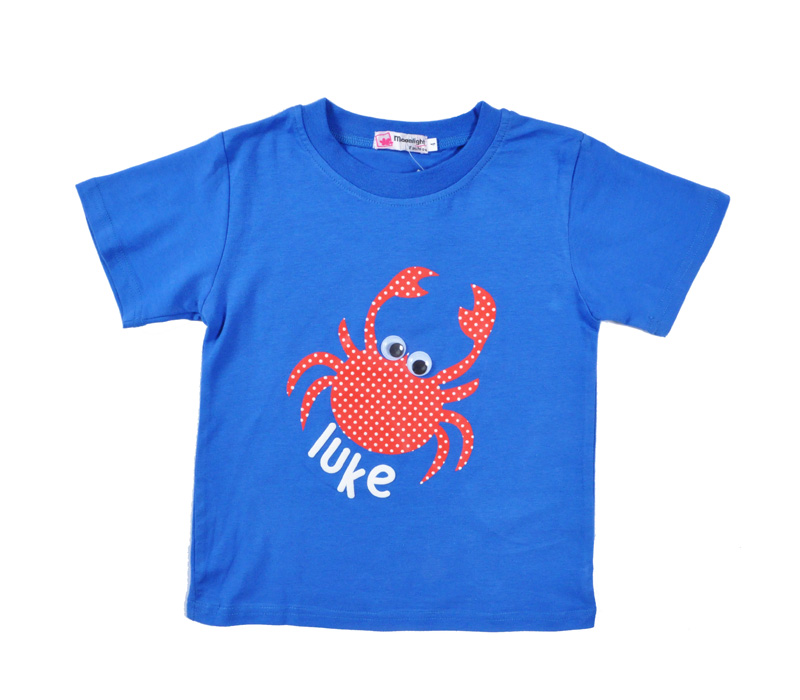 summer boy big eyes crab pure cotton t shirt baby boy clothes short sleeve T-shirt children wearing for 2-6T children clothes(China (Mainland))