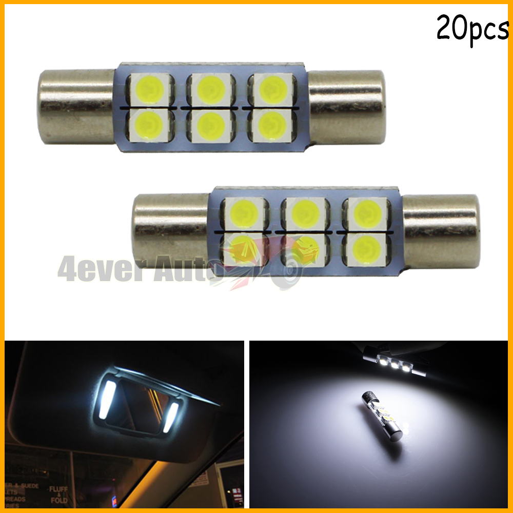 20pcs Super Bright 6-SMD 29mm 6614F LED Replacement Bulbs For Car Sun Visor Vanity Mirror Lights, Xenon White(China (Mainland))