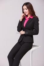 New 2015 Autumn Winter Plus Size Elegant Femininos Professional Business Work Wear Office Pant Suits Jacket And Pants Uniforms