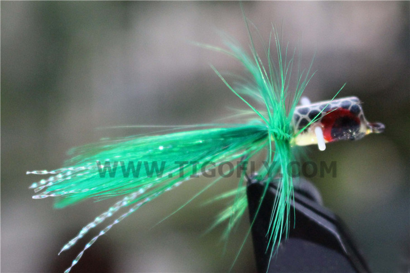 24 pcs Green/Yellow Foam Popper Bass Fly Fishing Fly Fishing Flies Lures(China (Mainland))