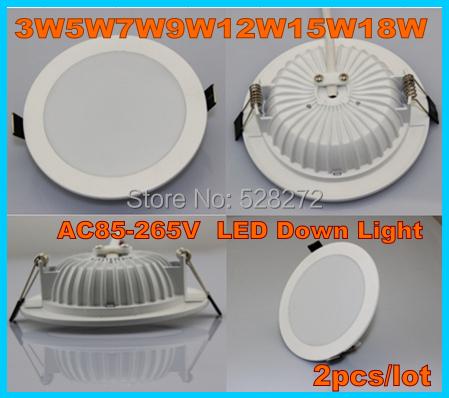 New LED downlights 3W5W7W9W12W15W18W 5730SMD AC85-265V Warm white Cold white indoor lighting(China (Mainland))