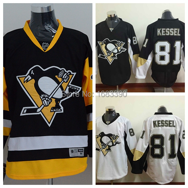 Pittsburgh Penguins Hockey Jerseys Cheap 81 Phil Kessel Jersey Black White Alternate Third Vintage Phil Kessel Stitched Jersey(China (Mainland))