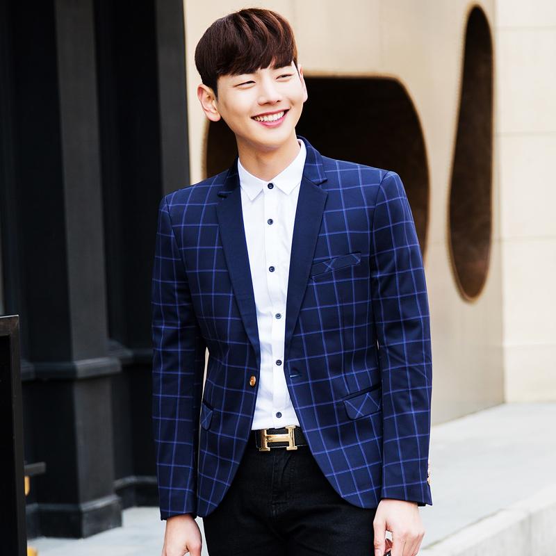 2016 Spring Style Luxury Business Casual Plaid Suit coat Men Blazers Set Formal Wedding Dress Beautiful Design Men's jackets(China (Mainland))