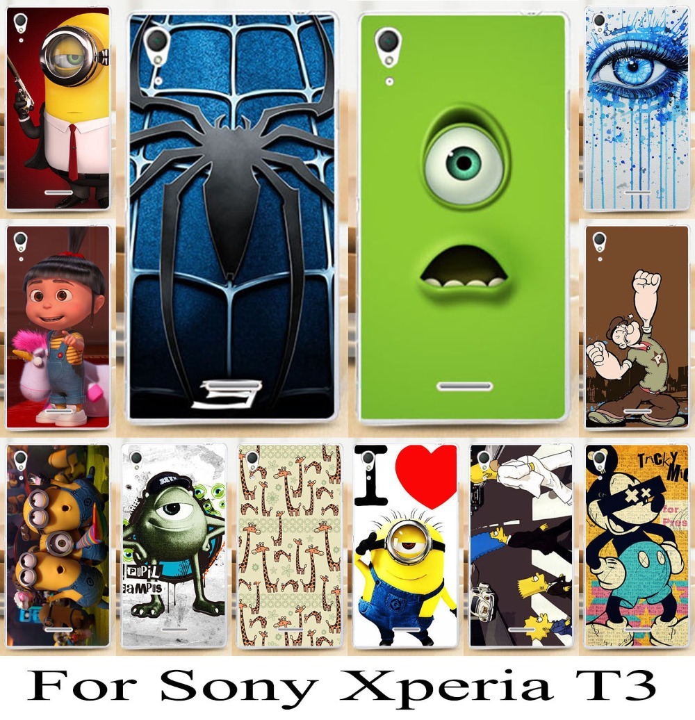 For Sony Xperia T3 M50W D5102 D5103 D5106 cartoon skin shell cover case bag cell phone case painting phone hood 1pc/lot newest(China (Mainland))