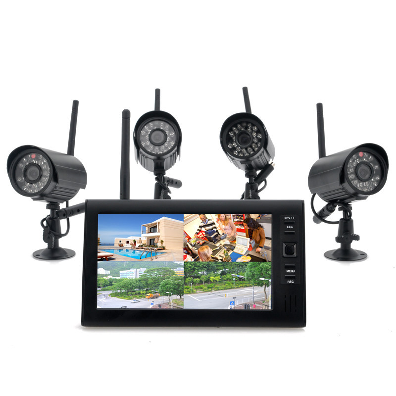 "2.4G 4CH QUAD DVR Security CCTV Camera System Digital Wireless Kit Baby Monitor 7"" TFT LCD Monitor+ 4 Cameras(China (Mainland))"