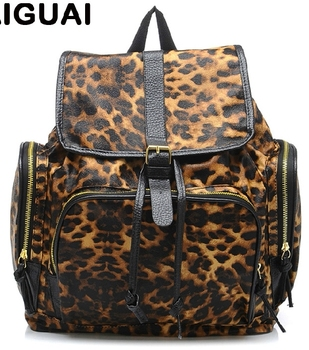 Free  shoping  Stylish leopard buckle Street Backpack  TB 2439