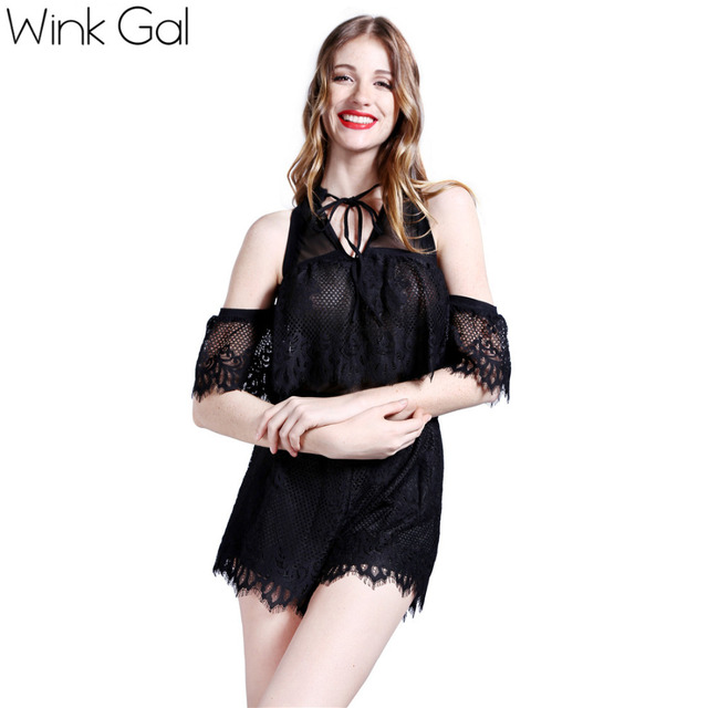 Wink Gal 2015 комбинезон женский комбинезон с открытами плечами сексуальный комбинезон ...
