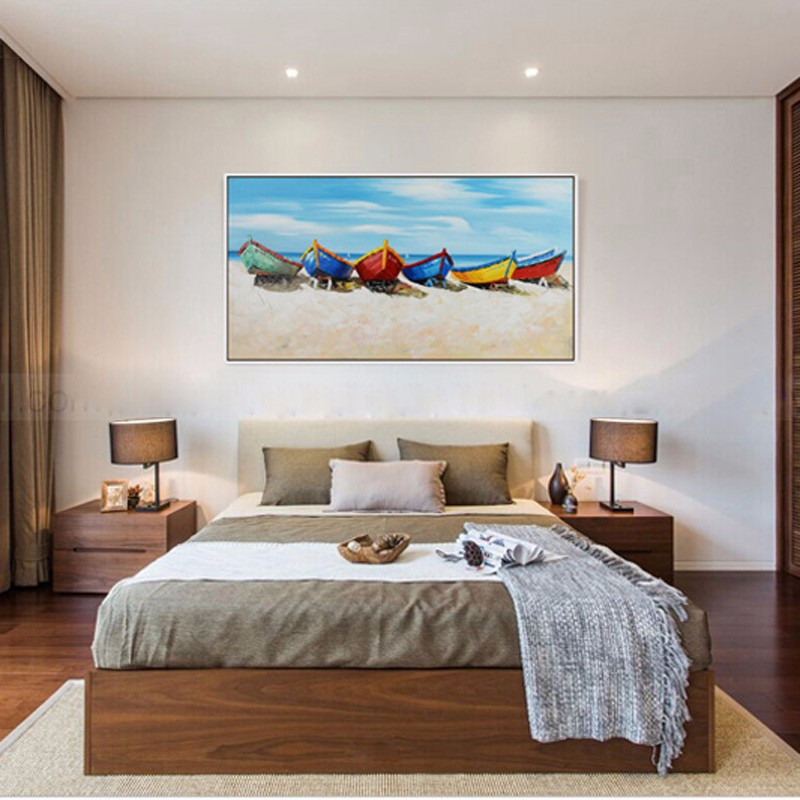 Buy Knife painting oil painting modern the beach and the boat Home decoration on canvas abstract painting art paintings SS-003 cheap