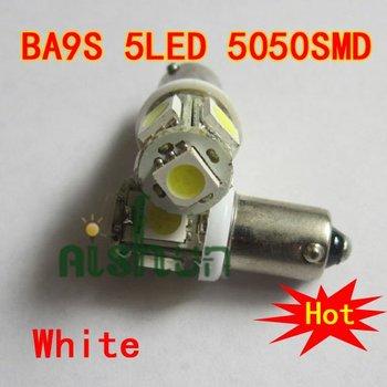Wholesale 50pcs/lot  white car led lamps  BA9S BA9 1895 T11 T4W 182 5050SMD 5LED ba9s lamp base