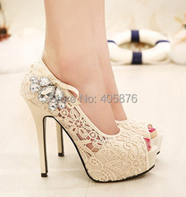 Summer new hot European brand style Ladies sexy rhinestone lace wedding shoes high heels platform pumps for women rh(China (Mainland))