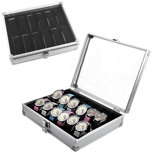 New Arrival 12 Slots Watch Jewelry Display Case Organizer Gift Box Storage Aluminium Plastic Watch case(China (Mainland))