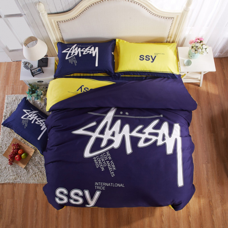 Stussy Fashion Bedding Solid Dark Blue Cool Bed Linen for Boys Bedroom Printed Sheet Set Twin Full Queen Cozy New(China (Mainland))