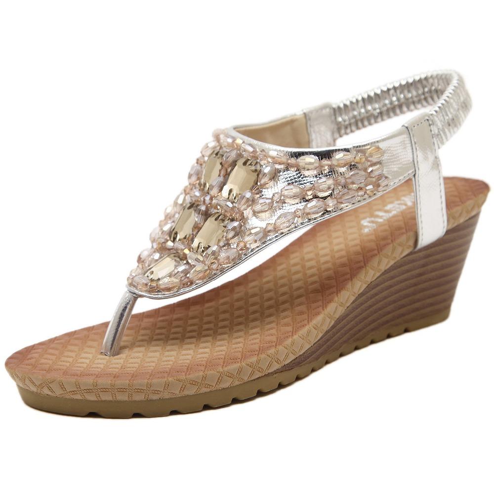 2016 Rhinestone bohemian women sandals fashion gold silver 5.5cm platform wedge ladies summer sandals rasteirinha feminina
