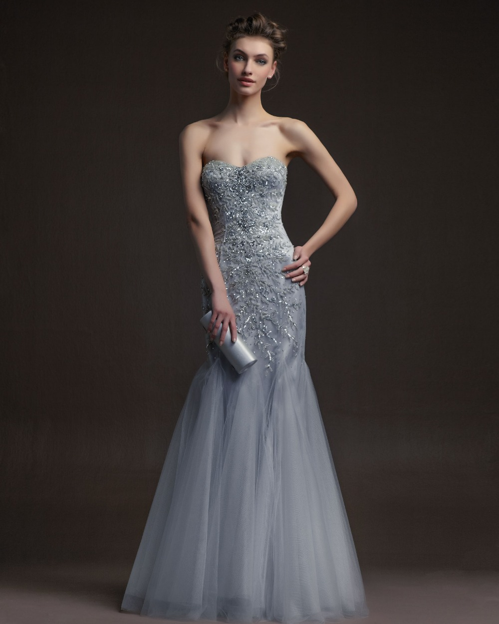 Fashion Sweetheart Beaded Long Grey Evening Dresses 2015 Backless Mermaid Tulle Strapless Prom