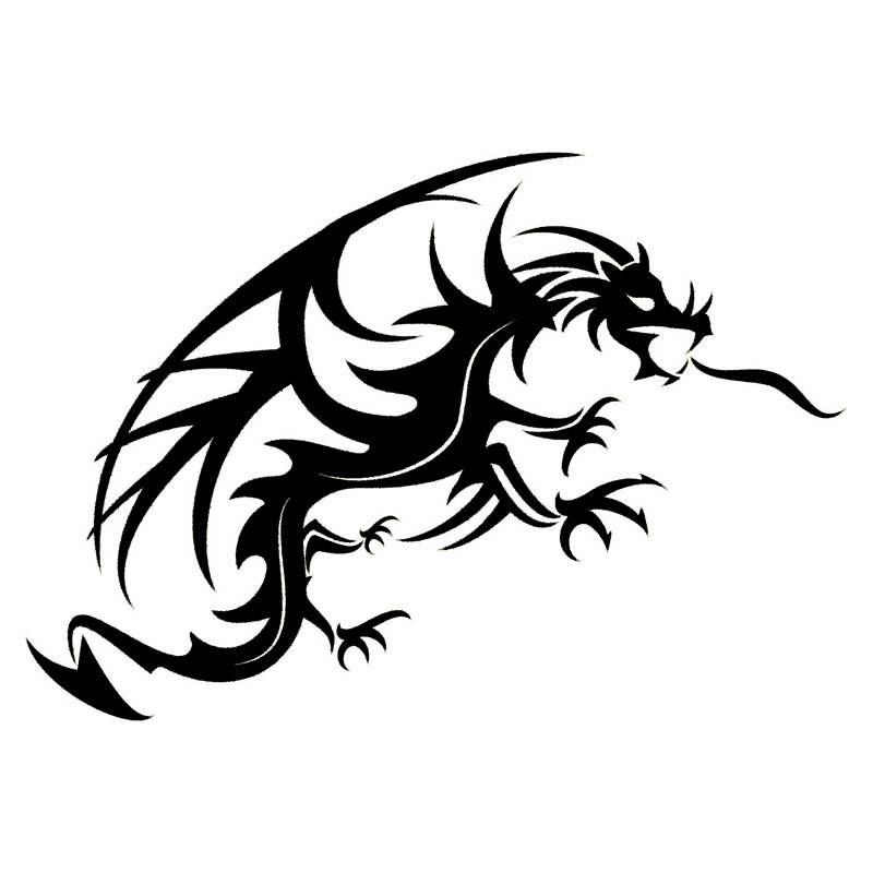 22*15.3CM Cool Car Body Stickers Dragon Mythical Creature Car Styling Decal Accessories Black/Silver C9-0868(China (Mainland))