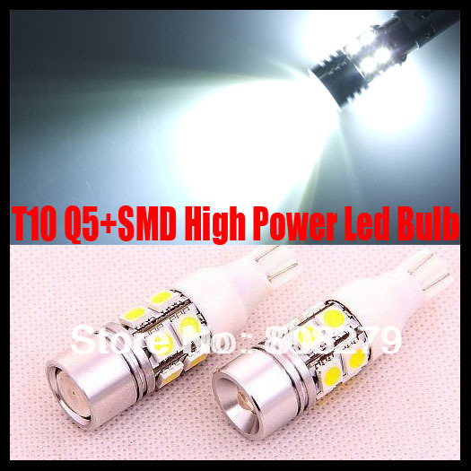 2 pieces / lot T10 W16W 501 7W CREE Q5+SMD High Power Cree chip LED Xenon White Parking Reverse Side Marker Light