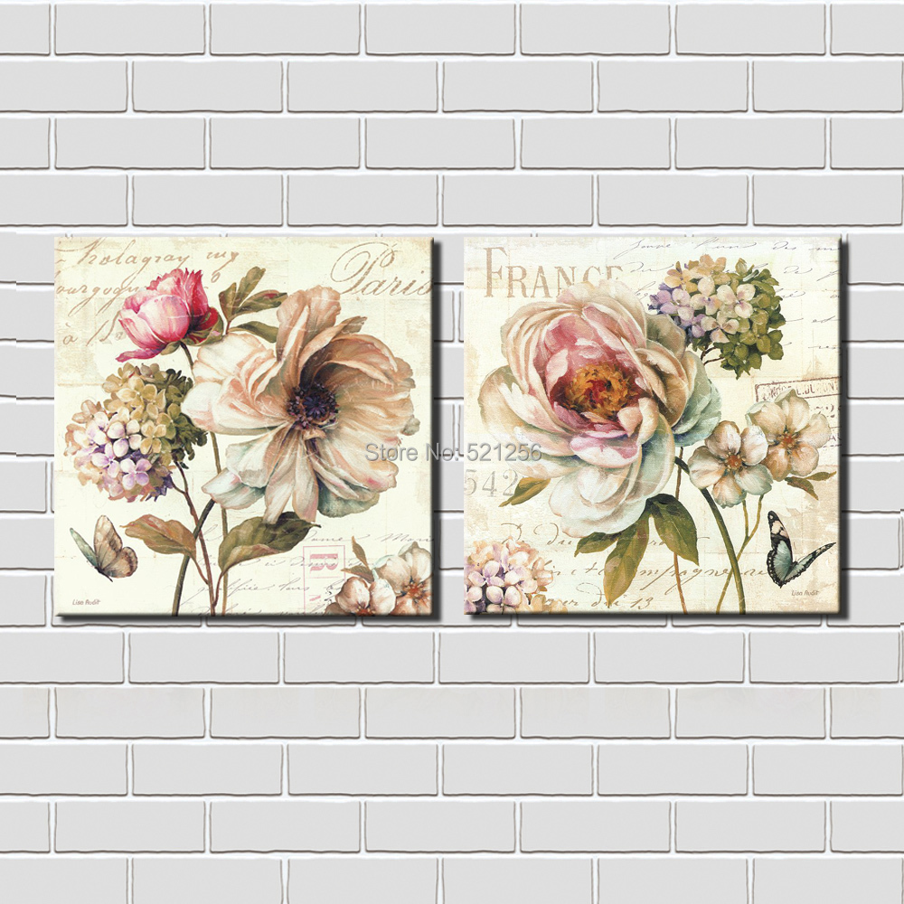 Modern Wall Art Home Decoration Printed Oil Painting Pictures Canvas Prints No Frame 2 Panel France Paris Hydrangea Large Flower(China (Mainland))