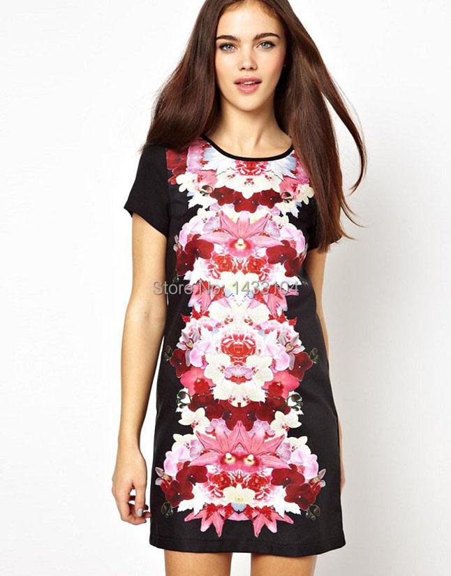 New Britain Ladies' Fashion vintage floral print Dresses bright color short sleeve slim party evening brand designer dress(China (Mainland))