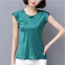 2019 nowy bez rękawów lato Rayon koszule damskie Plus rozmiar duży rozmiar satynowa koszula kobiety satin silk bluzki błyszczący gładki top szyfonowy(China)