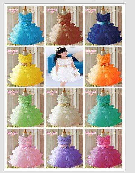 2014 new sleeveless chiffon dress/Girls toddler 3D flower tutu layered princess party formal dress(China (Mainland))