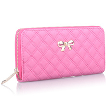 Women Famous Brand Luxury Leather Long Walet Female Girl Woman One Zipper Plaid Thread Wallet Purses Portefeuille Femme gw0145