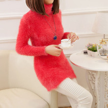 2015 New Women Winter Turtleneck Mohair Sweater Simple Candy Color Mohair Mid-Long Pullovers Knitted Sweater Korean Style(China (Mainland))