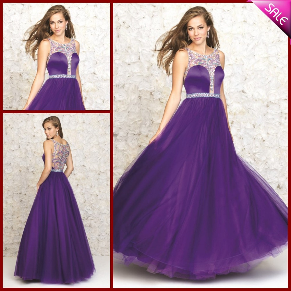 Long puffy purple prom dresses