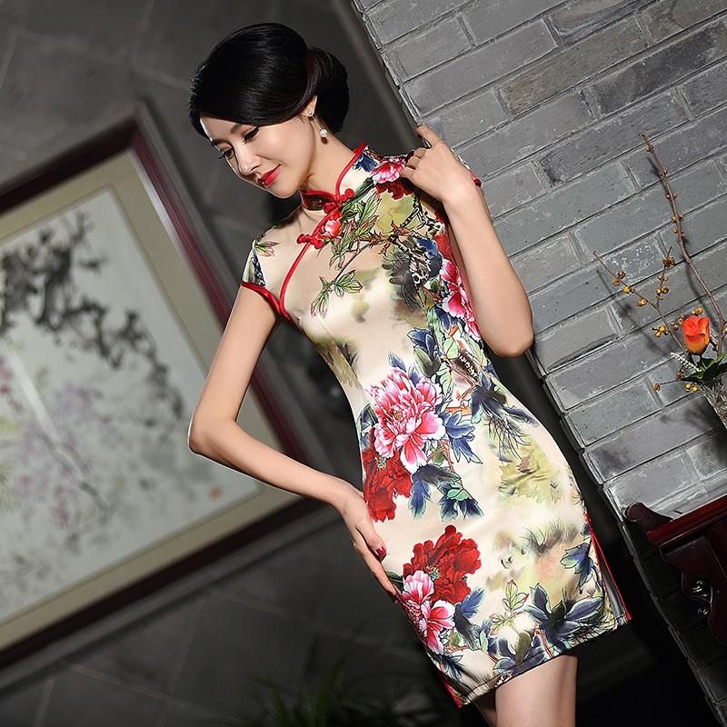 มาใหม่แฟชั่นแผนจีนชุดผู้หญิงผ้าไหมCheongsam QipaoมินิVestidoเดเฟสต้าขนาดSml XL XXL Z20160312 ถูก