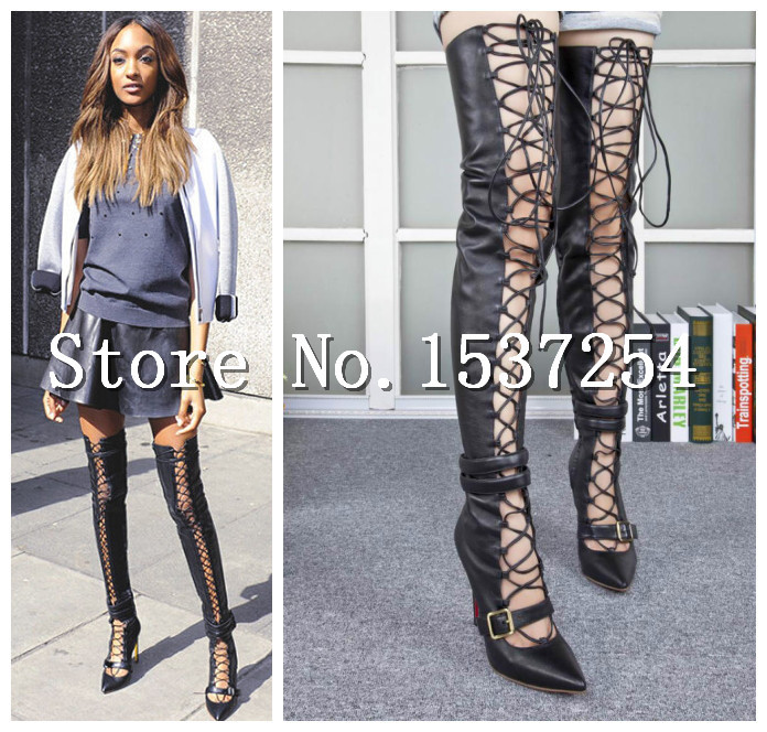 New sexy thigh high boots lace up Cross-tied gladiator sandal boots women over knee high heel motorcycle boots<br><br>Aliexpress