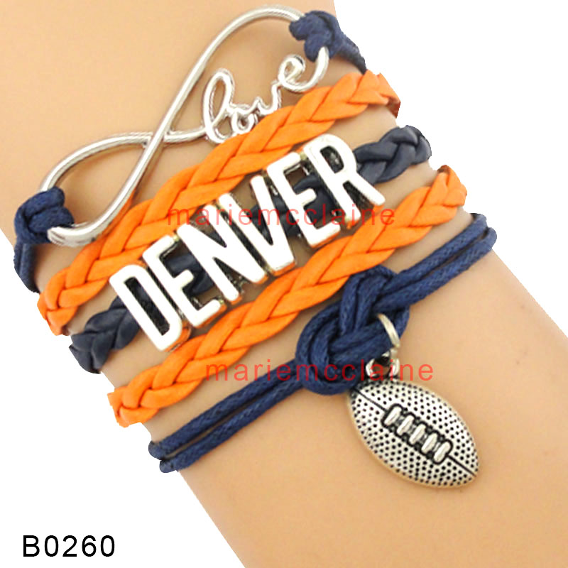 (30 PCS/lot) High Quality Love Denver Pioneers Chicago Auburn Football Bracelets Orange Red Navy Blue Gold Bracelets For Womens(China (Mainland))
