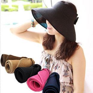 2015 New Fashion Summer Large Brimmed Straw Hats South Korea imports woman empty sun hat Korean convenient 98 percent cap(China (Mainland))