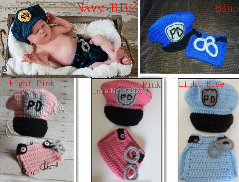Free Shipping Handmade Crochet Newborn Police Hat and Diaper Cover Set Pattern 2 Piece Suit Baby Boy Girl Shower Gift Photo Prop(China (Mainland))