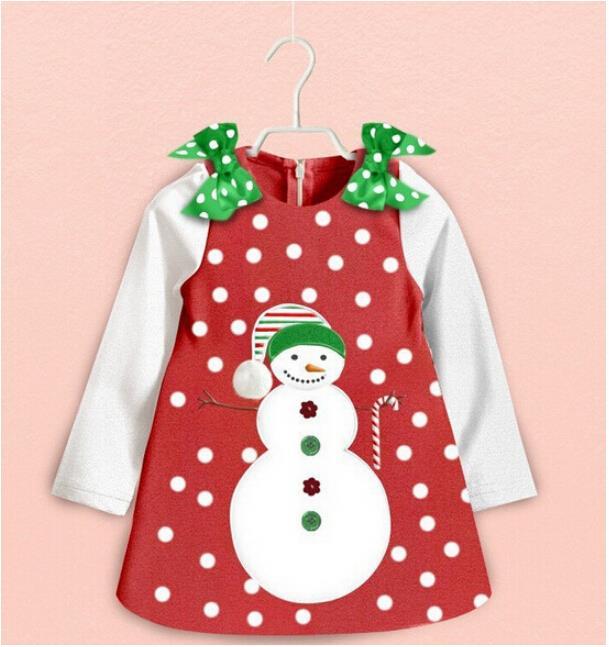 Girls christmas dresses cartoon snowman dot bow princess dress next