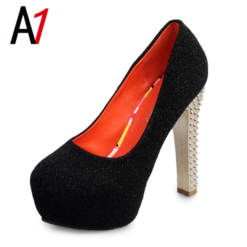 Pumps shiny fashion high heels sexy non-slip slip on women shoes top sale Gold heel wear-resisting black bottom cheap and fine(China (Mainland))