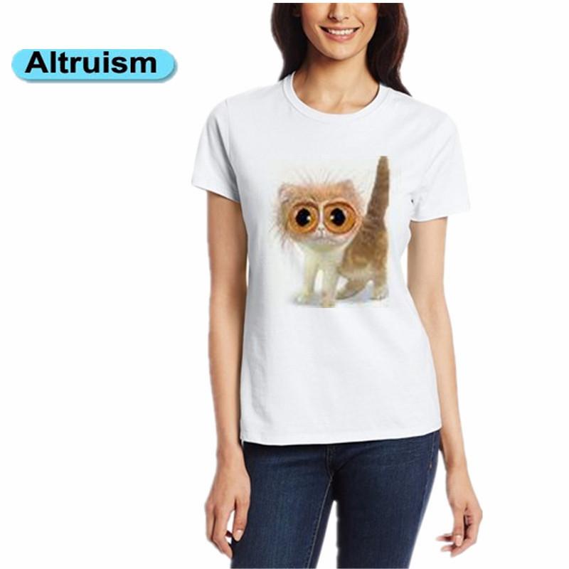 2015 Altruism New t-shirt women summer tops cat animal print fashion t-shirt short feminino 100%Cotton plus size 3xl T shirt(China (Mainland))