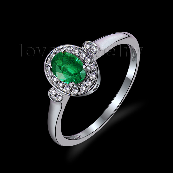Unique Solid 18Kt White Gold Oval 4x6mm Emerald Promise Ring Fashion Ring WU259<br><br>Aliexpress