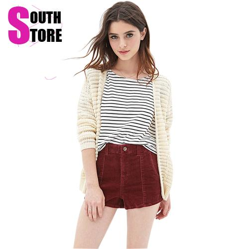 New 2015 Summer Fashion High Street Elastic Slim Washing Old Vintage Thin High Waist Solid Pockets Corduroy Shorts For Women(China (Mainland))